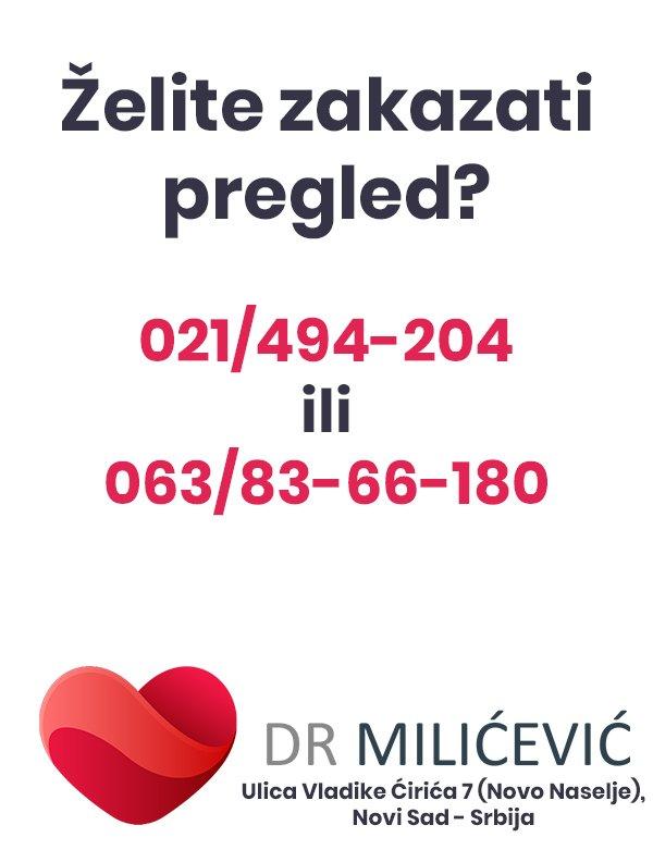 Zakažite pregled Novi Sad Dr Milićević internisticka ordinacija Novo Naselje